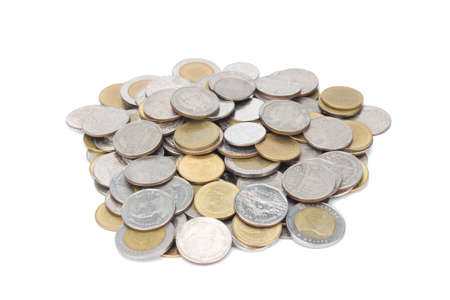 silver and glod coin stack. town. pile. isolated on white background.