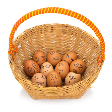 egg face in basket. orphaned. dumped.