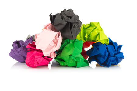 paper ball. colorful. crumpled. isolated on white background. Stock Photo