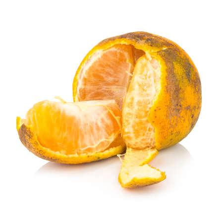 orange. rotten. dirty. ripe. peel. isolated on white background. Stock Photo