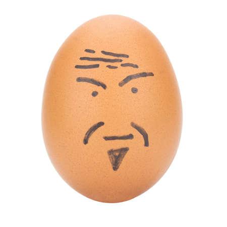 계란 얼굴 흰색 배경에 고립 된 오래 된 남자 개념입니다. 스톡 콘텐츠
