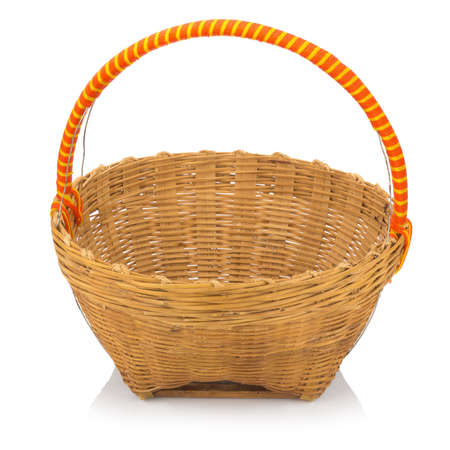 wicker baskets isolated on white background. Stock Photo