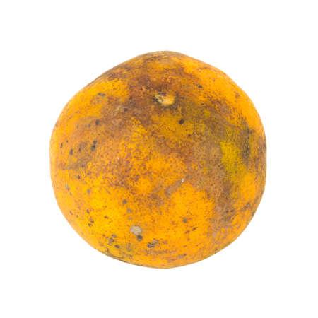 orange. rotten. dirty. isolated on white background.