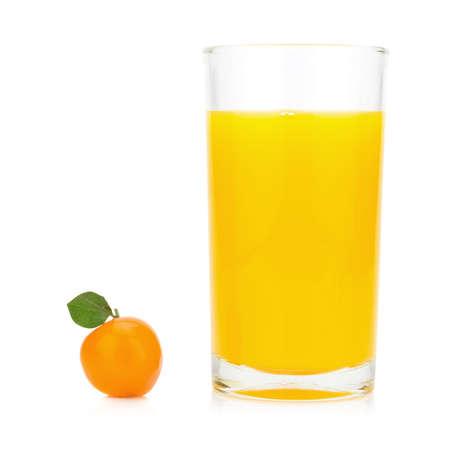 orange juice and dessert orange. deletable imitation fruits. thailand. isolated on white bckground. Stock Photo