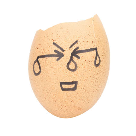 snuggle: egg broken face sad man concept isolated on white background. Stock Photo