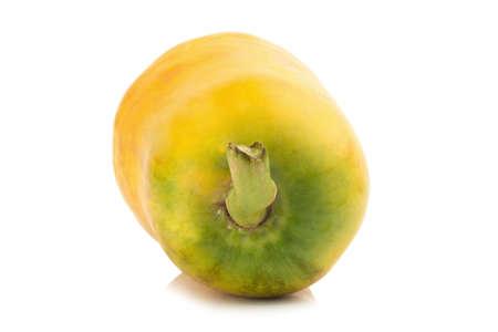 papaya fruit.  closeup rear part. color orange. asian. isolated on white background.