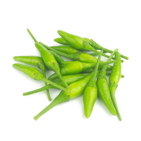 Thai pepper green isolated on white background.