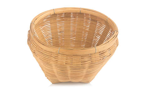 empty wicker basket on white background.