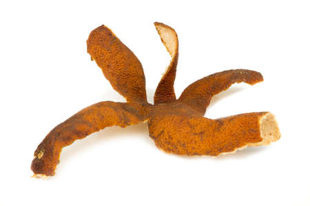 orange peel dry and rotten isolated on white background. Stock Photo