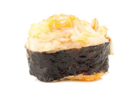 Japanese Cuisine Sushi. single. one. on white background.