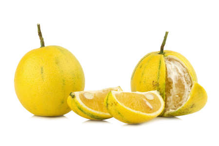 Bergamot oranges color yellow isolated on white background. 版權商用圖片