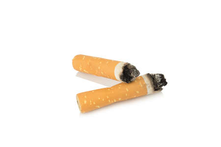two cigarettes butt isolated on white background. Banco de Imagens