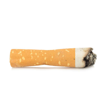 cigarette butt single isolated on white background. 스톡 콘텐츠