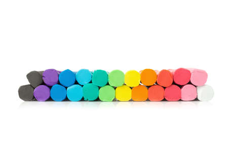 clay. plasticine. play dough. closeup bottom. isolated on white background. Stock Photo