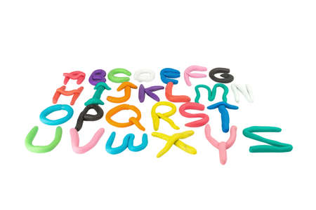 plasticine. clay. alphabet. text. color ful. child make. isolated on white background.