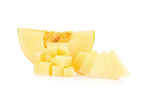 Hamigua Melon, Hami Melon, Hami Cantaloupe. pulp isolated on white background.