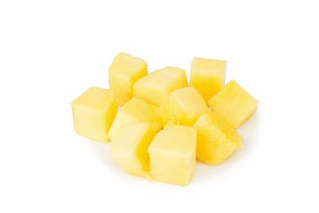mango cube slice isolated on white background.