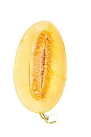Hamigua Melon, Hami Melon, Hami Cantaloupe isolated on white background.