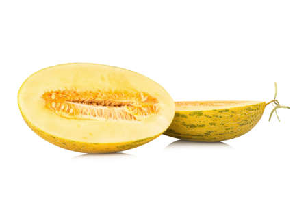 Hamigua Melon, Hami Melon, Hami Cantaloupe isolated on white background.