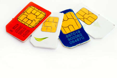 colorful sim card on a white background