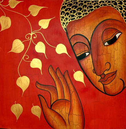 buddha image: Imagen de Buda en un fondo rojo Editorial