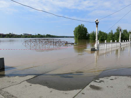 BIYSK, ALTAI KRAI-JUNE 1  Flood water on the streets on June 01 2014 in Biysk, Altai krai  The city declared a state of emergency as floods tore into the city