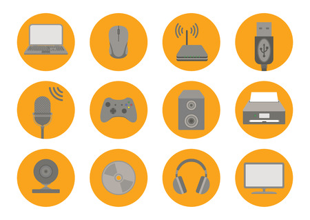 Computer accessories icons. Flat style. Vector illustration