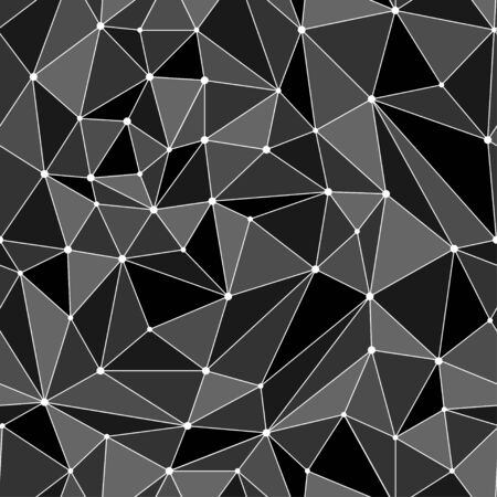 Polygon mosaic background. Polygonal abstract geometric seamless pattern. Vector texture with white connecting dots and lines. Connection structure. Çizim