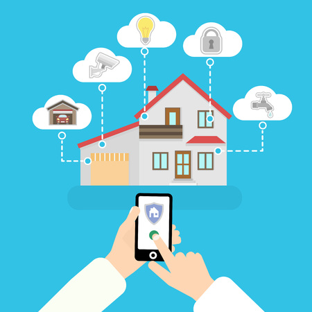 Vector smart home. Flat design style concept. Smart house infographic. System control. Hand hold mobile phone. 矢量图像