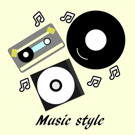 80s - 90 nostalgia music style, Vintage retro illustration. Compact disk, vinyl, cassette Illustration