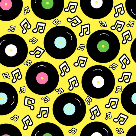 80s nostalgia style, Vintage retro 80s vector fashion seamless background. Pattern with vinyl record in music style.