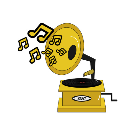 Vintage retro vector gramophone with music notes. Gold turntable on white.