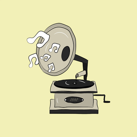 Vintage retro hand drawn gramophone in vector style. Turntable with music notes