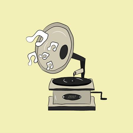 Vintage retro hand getrokken grammofoon in vector stijl. Draaischijf met muzieknota's