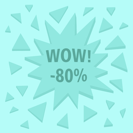 WOW. Abstract sale sign with 3D explosion effect. Vector illustration.