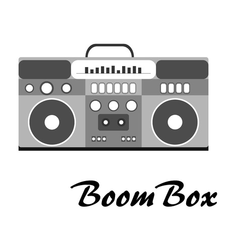 80s retro style, Vintage retro 80s vector boombox. 1980 disco. Record player with text.