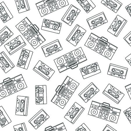 80s nostalgia style. Vintage retro 80's vector fashion seamless pattern. Black and white contour background.