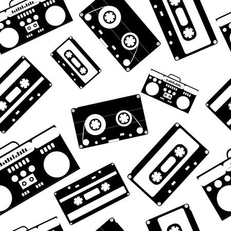 80s nostalgia style. Vintage retro 80s vector fashion seamless pattern. Black and white background. Ilustração