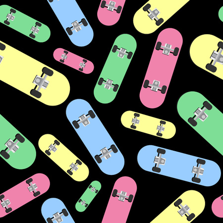 Different colorful skateboards. Seamless pattern with skates. Illustration on black background. Illustration