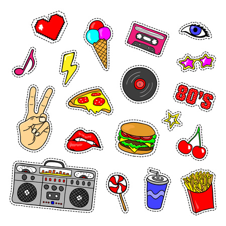 Pop art stickers with tape recorder, cassette, vinyl record, fast food, hand, lips and other elements. Set of pins, patches in cartoon 80s-90s retro comic style. Illustration