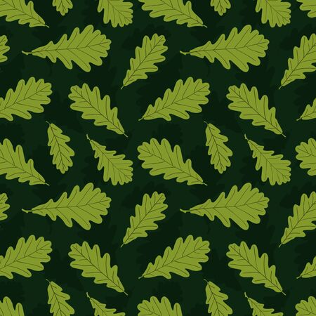 twigs: Pattern of autumn oak leaf silhouettes on dark green for your design.