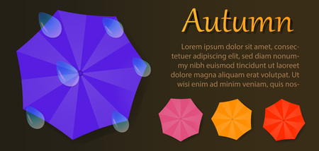 broadsheet: Autumn vector brochure with umbrellas and water drops. Template for your design or flyer. Illustration on gradient background.