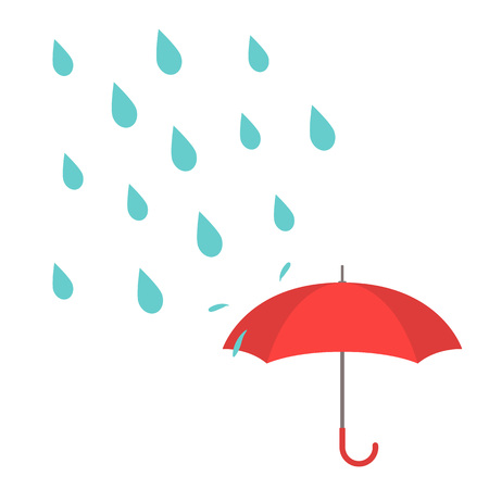 Vector illustration with water drops and red umbrella on white background. 向量圖像