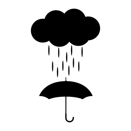 Vector icon with cloud and umbrella in black and white style.