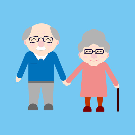 Happy grandparents. Elderly people. Grandparents day. Grandfather and grandmother. Vector card on blue background.