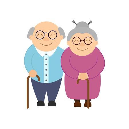 Happy grandparents. Elderly people. Grandparents day. Grandfather and grandmother. Vector card on white background. Ilustração
