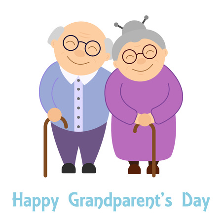 Happy grandparents. Elderly people. Grandparent's day. Vector illustration with text on white background.