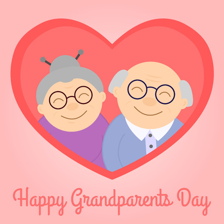 Felices abuelos en corazón. Personas de edad avanzada. Día de los Abuelos. Ilustración de vector con texto. Ilustración de vector