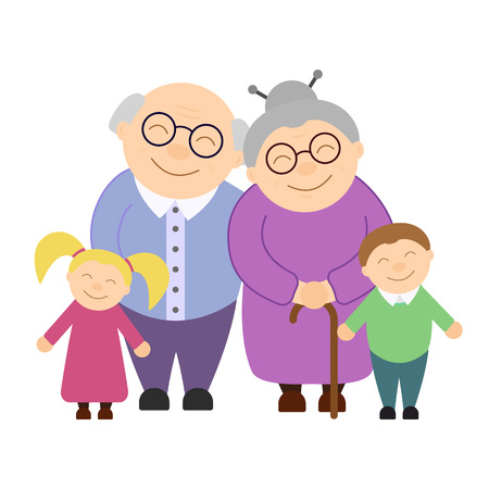 Cute grandparents with grandchildren