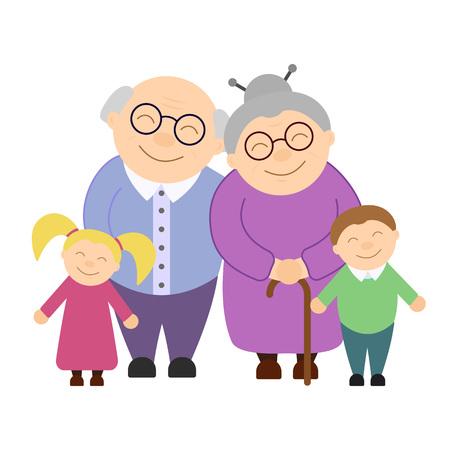 Cute grandparents with grandchildren
